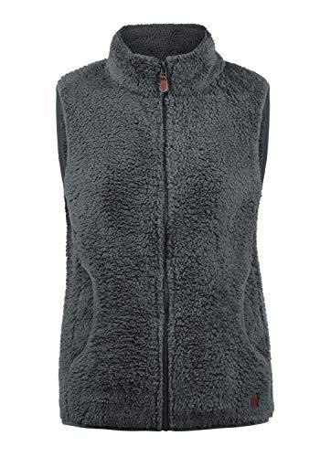 DESIRES Theri Damen Fleece-Weste Teddyfleece Weste Mit Stehkragen, Größe:L, Farbe:Castlerock (9486)