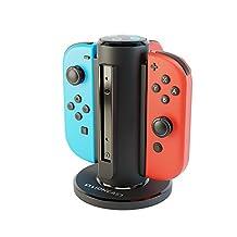 Lioncast 15350 Joy-Con Quad-Laddare till Nintendo Switch, Controller Laddningsstation med USB-C Port och LED Laddningsdisplay Svart/Blå/Röd