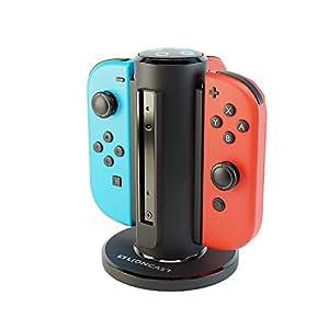 Lioncast Joy-Con Quadrupla Ricarica per Nintendo Switch, Controller per Charging Station con porta USB-C e Indicatore di carica LED - Nero