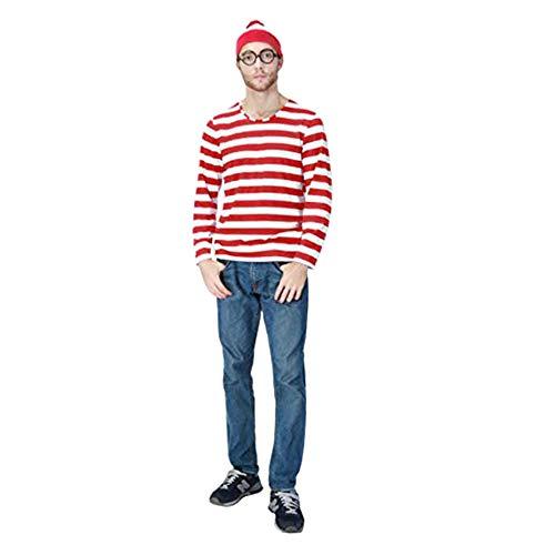 Kostüm Junge Where's Waldo - Mitef Weihnachtskostüm, Where e's Waldo lustiges gestreiftes Sweatshirt mit Brille und Hut für Kinder, Erwachsene, Männer und Frauen Gr. M, Mens