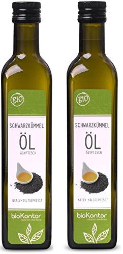 bioKontor // BIO Schwarzkümmelöl ägyptisch - nativ, kaltgepresst, 100% rein - 1000 ml (2x500 ml) (Schwarzkümmel öl Bio)
