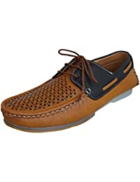 Marshal Loofer Men's Tan Black Brown Synthetic Leather Boat Shoes Casual Loafers