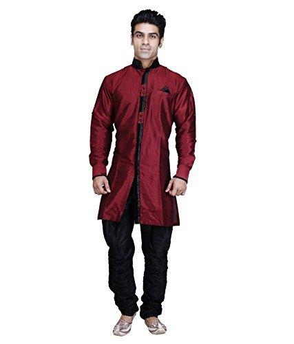 Royal Kurta Men' s Designer Indo Western Sherwani rosso