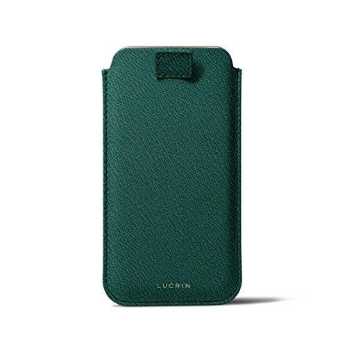 Lucrin - Etui avec languette pour iPhone 8/7/6/6s - Gris Souris - Cuir de Chèvre Vert