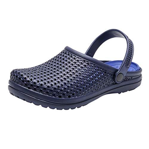 Hausschuhe Clogs Sandalen für Herren/Skxinn Männer Atmungsaktiv Pantoletten Outdoor Sommer Strand Schuhe Flache Rutschfest Bequem mit Drainage Löcher 40-46 EU Ausverkauf(Blau,46 EU)