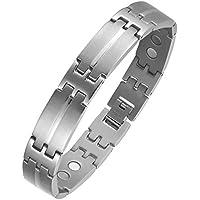 Herren Silber Magnetisches Armband Titanium Verstellbare Energie Golf Link Armreif mit starken Magneten und Faltschließe... preisvergleich bei billige-tabletten.eu