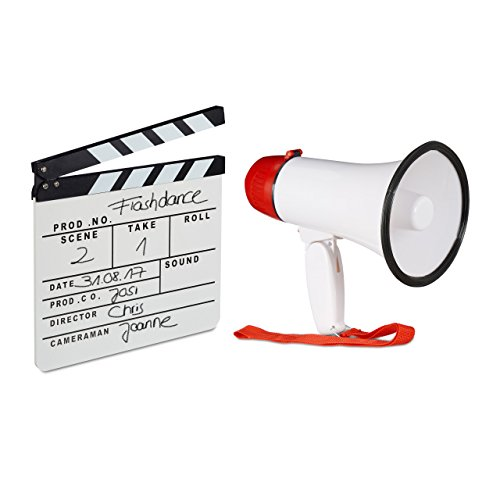Preisvergleich Produktbild 2 tlg. Film-Set,  Megafon Stadion,  Filmklappe weiß,  Flüstertüte 10 Watt,  Regieklappe Holz,  Megaphon Ole Sound,  Clapboard