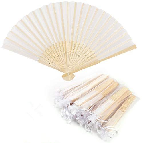 Dproptel Seide Hand Fächer Bambus Taschenfächer Stofffächer Hochzeit Zubehör & Gefälligkeiten Handventilator Faltbare Fan mit Organza Geschenktuete 10pcs Weiß