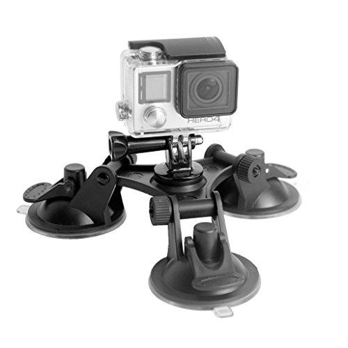 Shoot® Saugnapf Kamera Auto Halter Foto Video DVR Halterung für Gopro Hero 6, Hero 5 GoPro Hero 1 2 3 3+ 4 KFZ PKW 3 + 4 SJ4000 SJ5000 Universal Saugnapf Kamerahalter groß zur Befestigung an Autos, Booten, Motorrädern und mehr (3er Saugnapf) (Cup-halter Power Adapter)