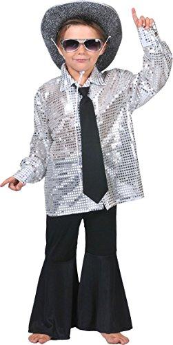 für Jungen 140/152 (10-12 Jahre) (Silbernes Disco-hemd)
