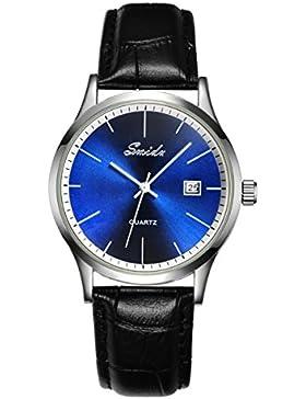 UNIQUEBELLA Mode Herren-Armbanduhr Kalender Analog Quarzuhr Leder 026 Oberfläche Blau Armband Schwarz