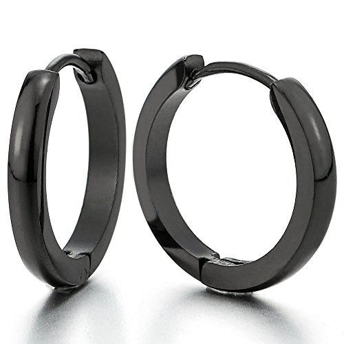 Acier Inoxydable Plaine Noir Anneau Boucles d'oreilles Charnière - Créoles - pour Homme Femme - 1 paire