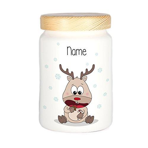 Herz & Heim® Keksdose mit Rentier Elchi und Ihrem Wunschnamen zu Weihnachten für Ihre Plätzchen