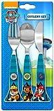 OFFICIAL PAW PATROL 3 couverts pièce fixée !! Avec couteau en acier inoxydable, fourchette et cuillère