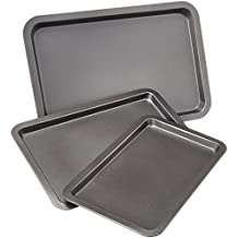 AmazonBasics - Juego de 3 bandejas de horno para repostería