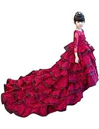 8bfe17a12 Vestido De Noche De Niña Vestidos de Fiesta Rojos de la Muchacha de Flor de  la Boda del Desfile de Las…