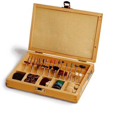 Scheppach Werkzeug-Set 103 Teile im Holzkoffer für Dekupiersäge, 88002730