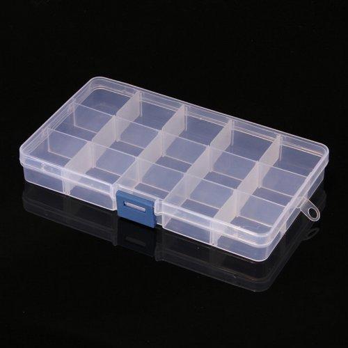Effacer 15 Nail Art boîte à compartiments de rangement en plastique outil de bijoux conteneurs