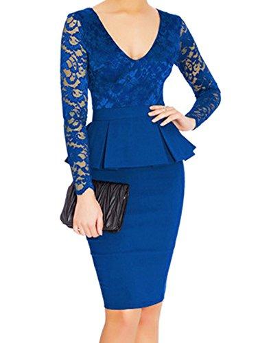 Vestido Cortos De Encaje Para Fiesta Con Manga Larga De Cóctel De Noche Para Mujer - Azul - M