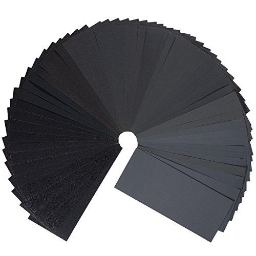 Schleifpapier Set,27Stück 400 to 3000 Grit Schleifpapier Sortiment Trocken/Nass Für Automobilschleifen Holzbearbeitung und Holzdrehen, 9 x 3,6 Zoll