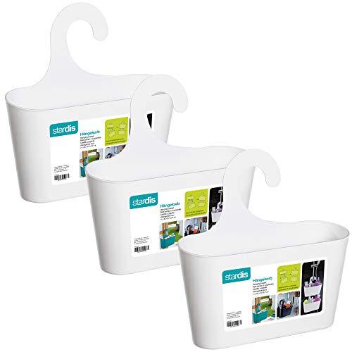 stardis 3er-Set Duschkorb zum Hängen ohne Bohren - Duschregal aus Kunststoff - Badregal - Utensilo - Duschablage, Farbe:Weiß