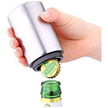 ZZM Beer Bottle Opener Magnet-Automatic,Stainless Steel-Push Down Bottle Openers,Bottle Cap Remover