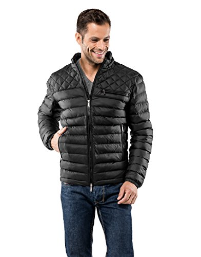 Vincenzo Boretti Herren Steppjacke Slim-fit tailliert Übergangs-Jacke leicht dünn weich warm gefüttert für Frühling Herbst modern elegant - EIN Style für Business und Freizeit schwarz XL
