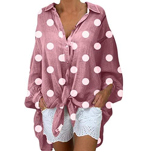 Malloom-Bekleidung Frauen Mode Blusen Lange Hülsen Beiläufige Tupfen Hemden V-Ansatz Oberseiten Plus Größe Lockeres, Langärmliges Button Down Hemd Mit Punkten