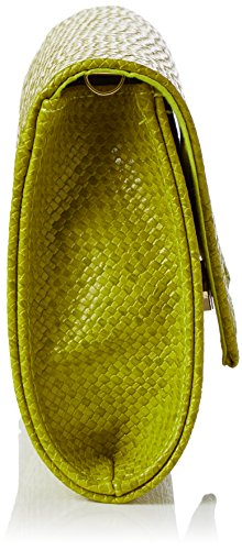 Swanky Swans Damen Mischa Faux Leather Clutch, 4.8x15.8x29.2 cm Grün (Lime)