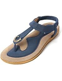 gracosy Damen Zehentrenner, Flache Sommer Strand Sandalen Mädchen Clip Toe  Hausschuhe Mode Böhmischer Flip Flops Bequemer T-Strap… 8dac3431b1