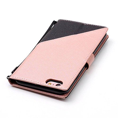 Custodia iPhone 6 Plus - Cover Apple iPhone 6s Plus - ISAKEN Accessories Cover in PU Pelle Bronzing Oro farfalla Leather Custodia Rigida Libro Bookstyle Wallet Flip Portafoglio Copertura Anti Slip Pro nero+roseo