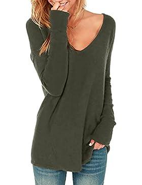 StyleDome Mujer Camiseta Manga Larga Blusa Cuello Pico Otoño Invierno Elegante Oficina Casual Tops