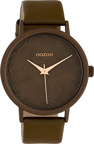 Oozoo Damenuhr mit Lederband 42 MM Colours of Summer Palmen Zifferblatt Unicolor Braun C10171