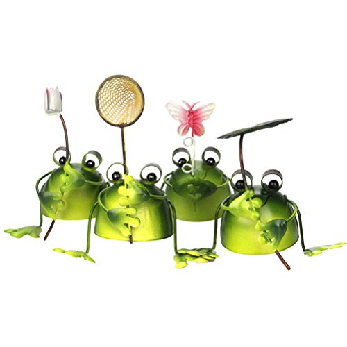 Vosarea 4 pcs Iron Frog Ornaments Creative Micro Landscape Frogs Figure Craft Animals crafts garden decoration (Green)