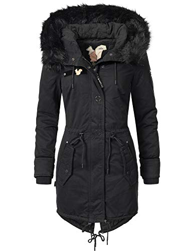 khujo Damen Mantel Wintermantel Baumwollparka YM-Dorota (vegan hergestellt) Black018 Gr. XL