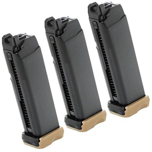 Airsoft Softair Ausrüstung 3pcs Packung APS 23rd Co2 Mag für Action Combat Pistole ACP 601 Schwarz / Dark Earth