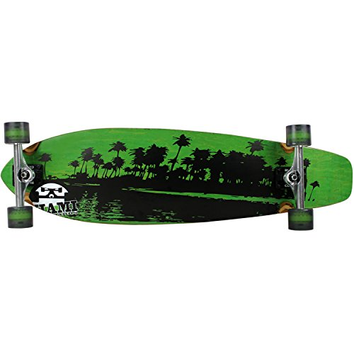 Miami Longboard komplett Kicktail Palmen grün 24,8x 92,7cm (Atom Skateboard Kicktail)