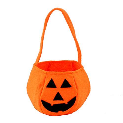 Cdet Halloween Kürbis Tasche Beutel/Kürbiseimer Handtasche Süßigkeiten Tasche Kids Lustige Korb aus Vliesstoff treat or trick 1 Stuck size 20*14cm (5#)