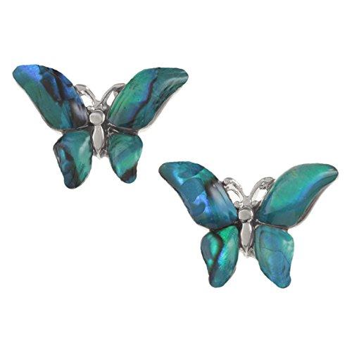 Kiara gioielli orecchini farfalla intarsiato con agata verde bluastro paua abalone. non si ossida colore argento placcato al rodio, anallergico.