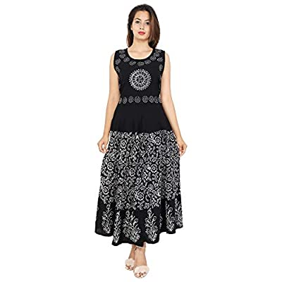 Urban Fab 100% Cotton Block Print Black Maxi Dress Women