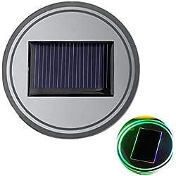 TianranRT 2PCS Solar Cup Pad Auto Zubehör LED Licht Cover Interior Dekoration Lichter Solarschale Abdeckung Innendekoration