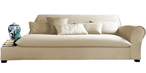 Afydecor Transitional Three Seater Chaise Sofa with English Roll Arm - White