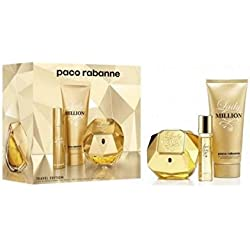 Rabanne Lady Million Set Eau De Parfum + B/L + Mini Eau De Toilette - Pacco da 3 x 61.67 ml - Totale: 185 ml