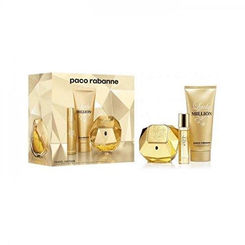 Rabanne Lady Million Set Eau De Parfum + B/L + Mini Eau De Toilette - Pacco da 3 x 61.67 ml - Totale: 185 ml