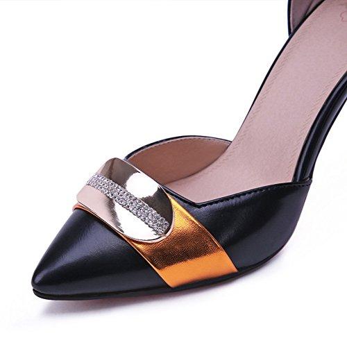AgooLar Femme Stylet Couleurs Mélangées Boucle Matière Mélangee Pointu Chaussures Légeres Noir