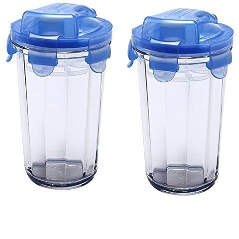 Glasslock, 2x RC-105-B, 2x 485 ml, Runde Frischhaltedose aus Glas Shaker Typ