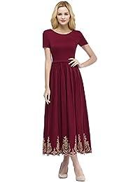 Babyonlinedress® Abendkleider Elegant Für Hochzeit Damen Kurzarme Midi  Ballkleider Jersey-Kleid 7e277cb921