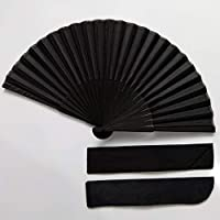 TREW Chinese Style Black Vintage Hand Fan Folding Fans Dance Party Wedding (Color : 1pc fan and 1pc bag)