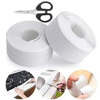 MUXItrade 2pcs Selbstklebende Dichtband Wasserdicht für Bad Dusche Waschbecken (Weiß)