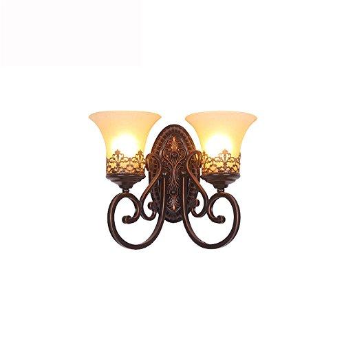 Lightoray retrò applique da parete vintage antiquariato lampada al posto letto in ferro battuto la testa doppia lampada da parete per casa, bar, cucina, ristorante, caffè, corridoio